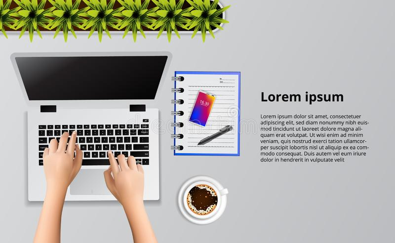 Main dactylographiant sur l'ordinateur portable sur la vue de bureau avec l'illustration de note et de café illustration stock
