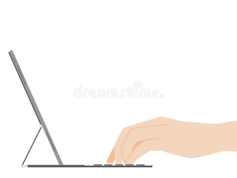 Main dactylographiant sur la nouvelle technologie à l'avance de conception de nouveau comprimé puissant illustration stock