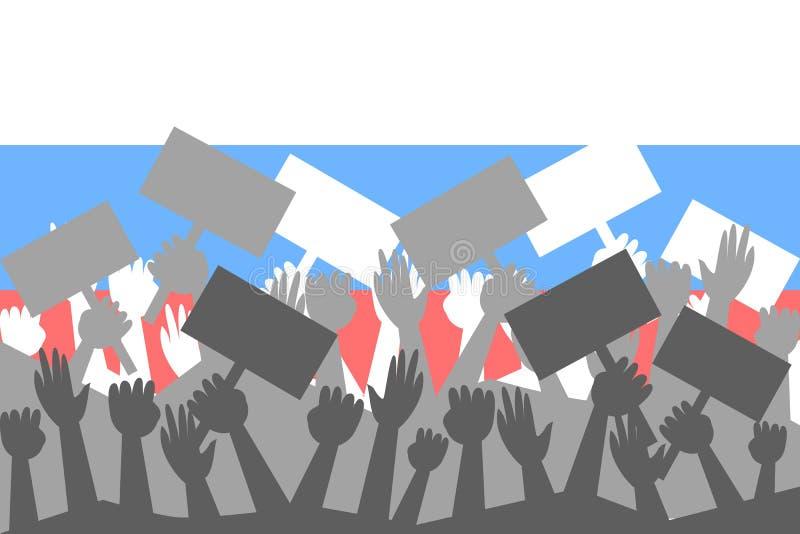 Main dans le ciel, foule sur l'activiste de protestation sur la démonstration illustration de vecteur