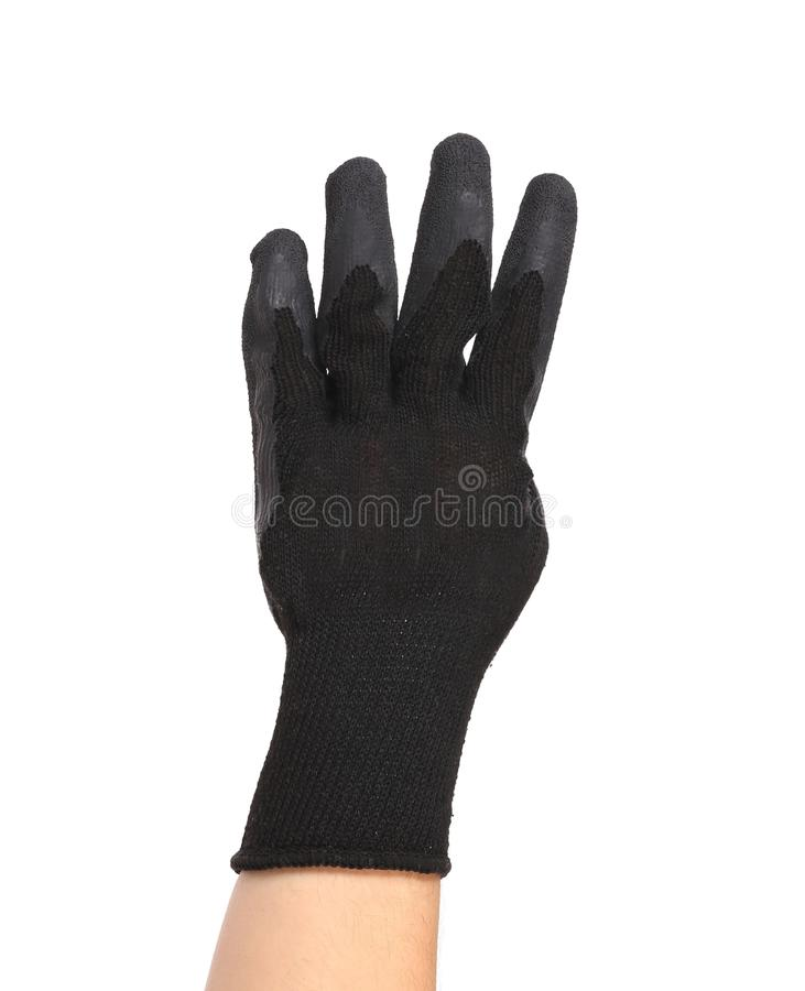 Main dans les expositions quatre de gants. photos stock