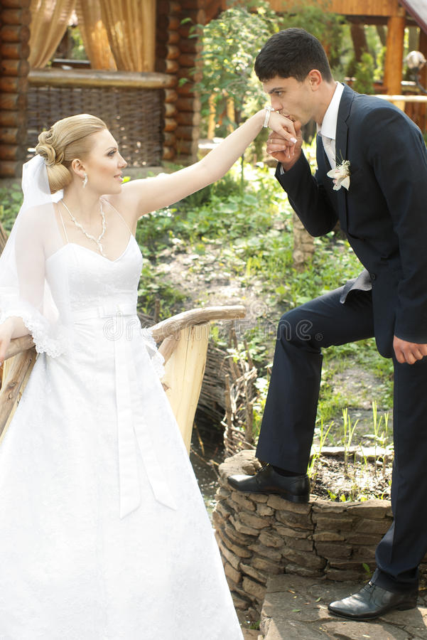 Main de baiser de marié de mariée photographie stock