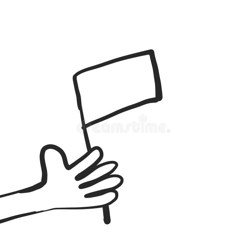 Main de bande dessinée avec le drapeau dessus illustration de vecteur