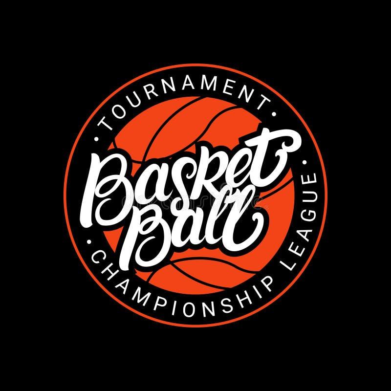 Main de basket-ball écrite marquant avec des lettres le logo, emblème, label, insigne illustration stock