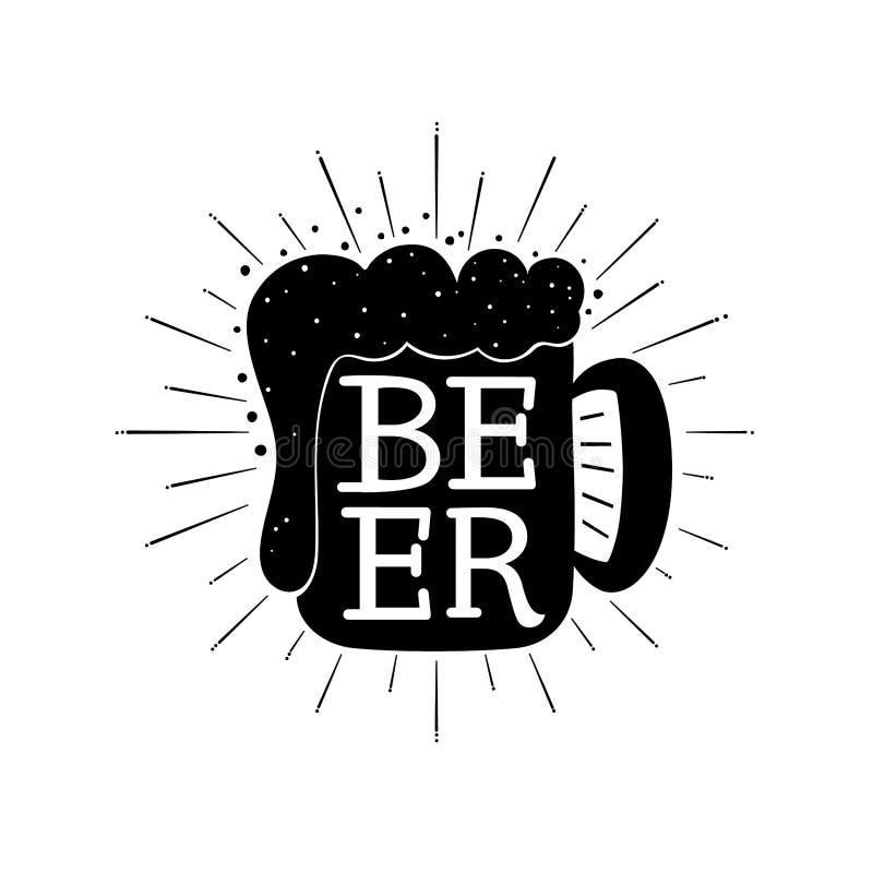 Main de bière écrite marquant avec des lettres la composition sur la tasse illustration stock