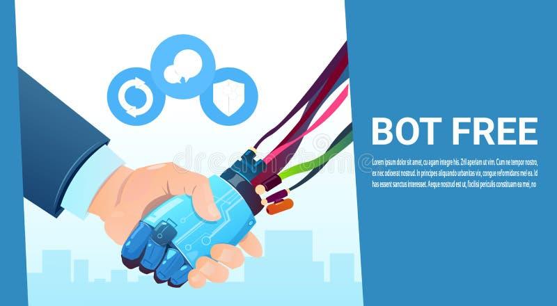 Main de Bot de causerie secouant avec l'aide virtuelle de robot de personnes du site Web ou des applications mobiles, intelligenc illustration stock