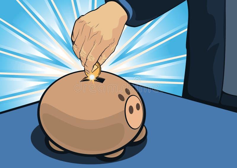 Main de Cartooned mettant la pièce de monnaie à l'intérieur de la tirelire ; Concept d'économie illustration de vecteur