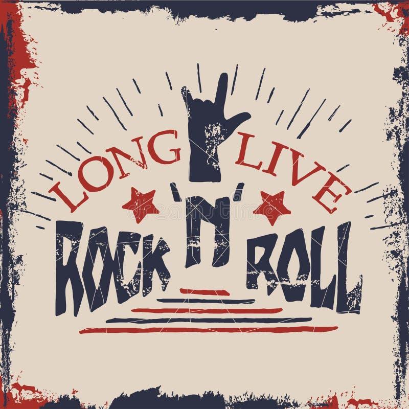 Main de concept marquant avec des lettres la citation musicale Vivent longtemps la conception de label de rock pour des T-shirts, illustration stock