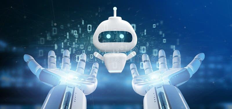 Main de cyborg tenant Chatbot avec le rendu du code binaire 3d illustration stock