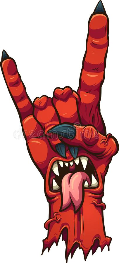 Main de démon de bande dessinée faisant aux klaxons de diable le signe de main illustration de vecteur