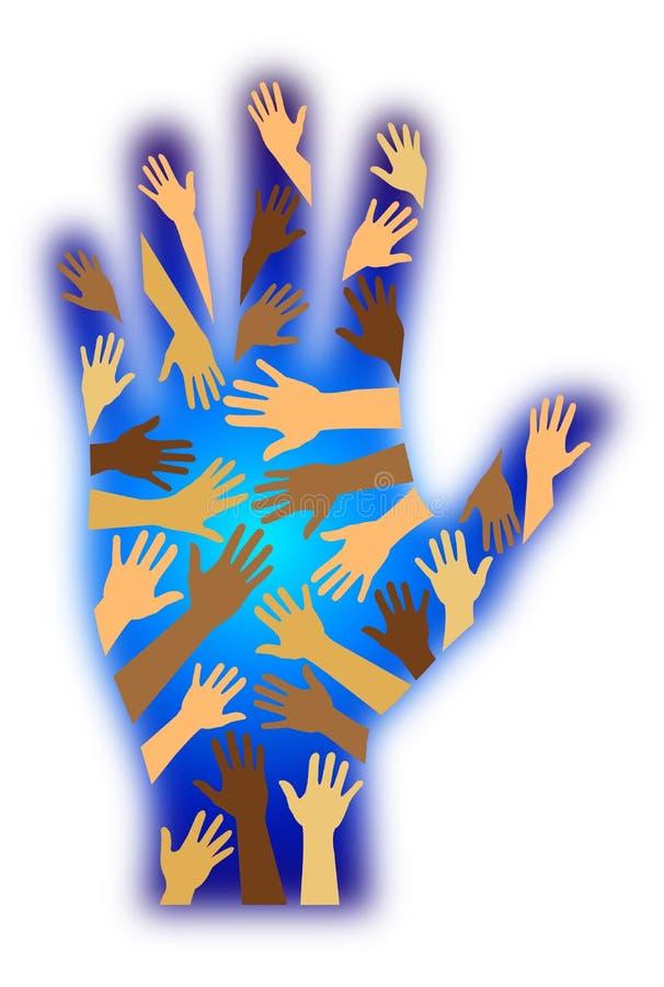 main de diversité raciale illustration libre de droits