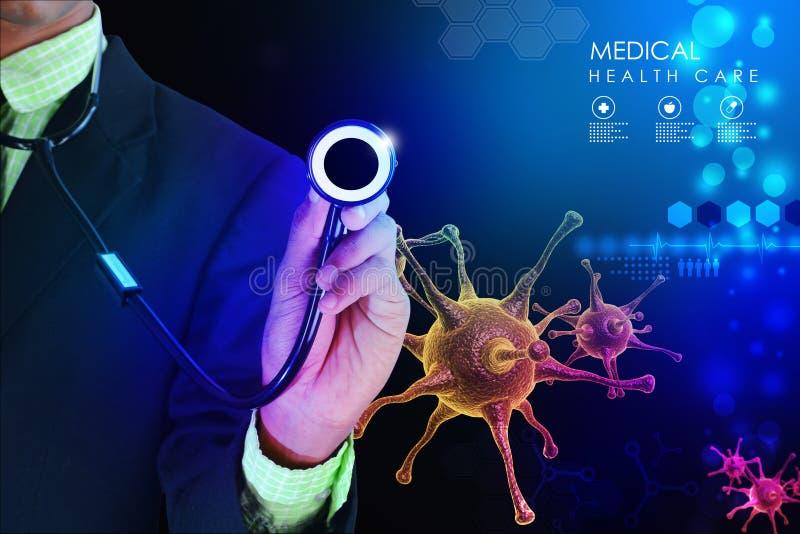Main de docteur montrant le stéthoscope image libre de droits