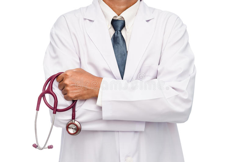 Main de docteur tenant le stéthoscope photo stock