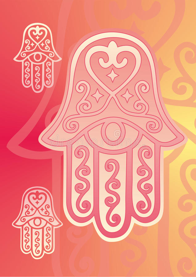 Main de Fatima avec l'oeil illustration stock