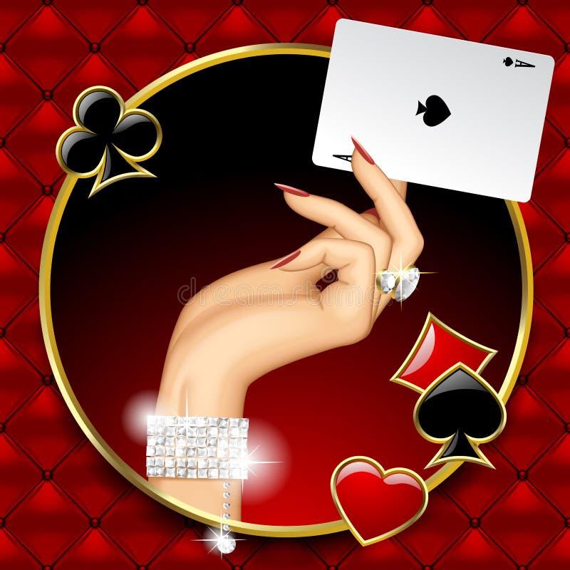 Main de femme avec des bijoux tenant Ace jouant la carte dans le rond illustration de vecteur