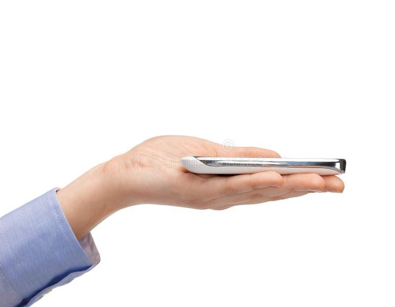 Main de femme avec le smartphone images stock