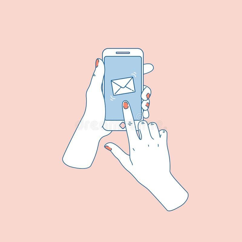 Main de femme avec le smartphone Message neuf Avis social de media Illustration de vecteur illustration stock