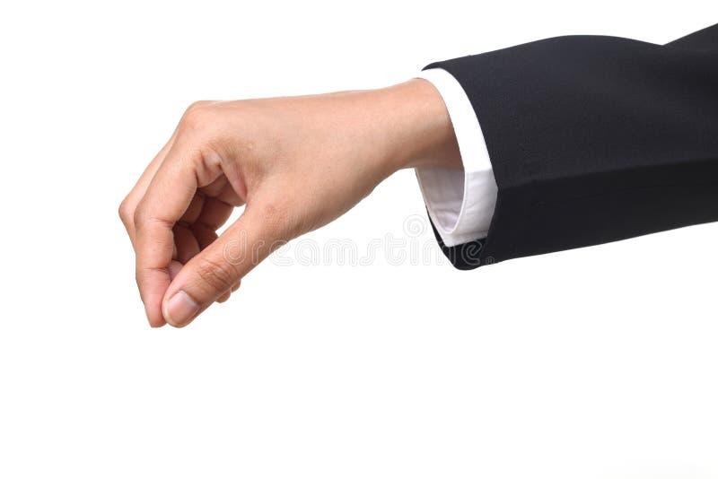 Main de femme d'affaires tenant des articles images stock