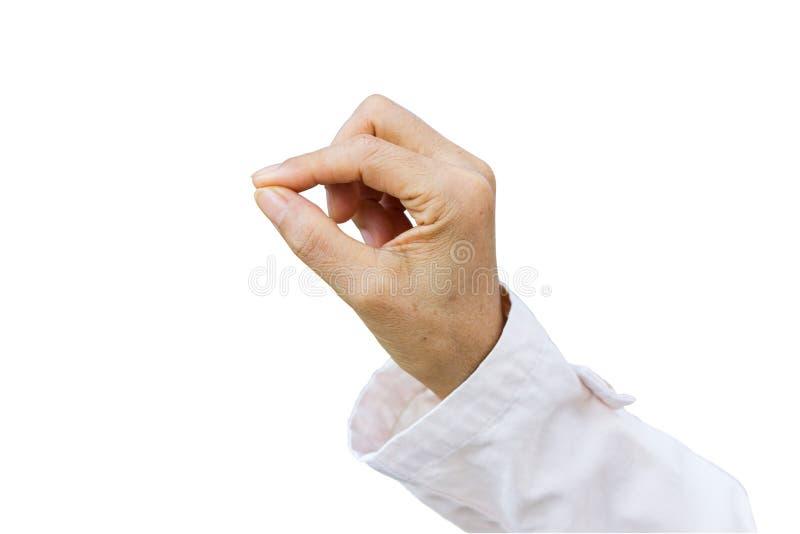 Main de femme d'affaires tenant l'objet, d'isolement sur le backgro blanc photos stock