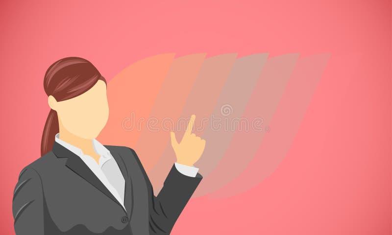 Main de femme indiquant le produit, cible pour le concept de vente d'affaires de présentation Illustration EPS10 de vecteur illustration de vecteur