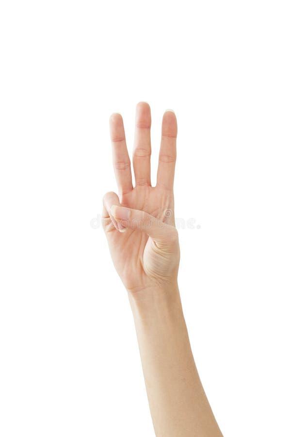 Main de femme montrant la paix trois sur le blanc images libres de droits