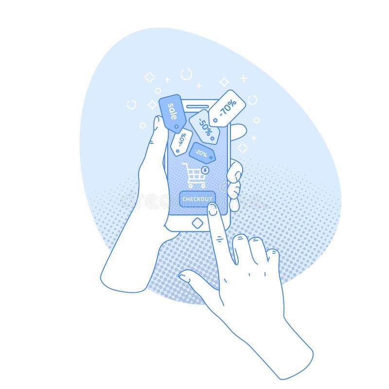 Main de femme retenant le smartphone Achats en ligne Application en ligne de magasin Style de Digital Illustration de vecteur illustration de vecteur