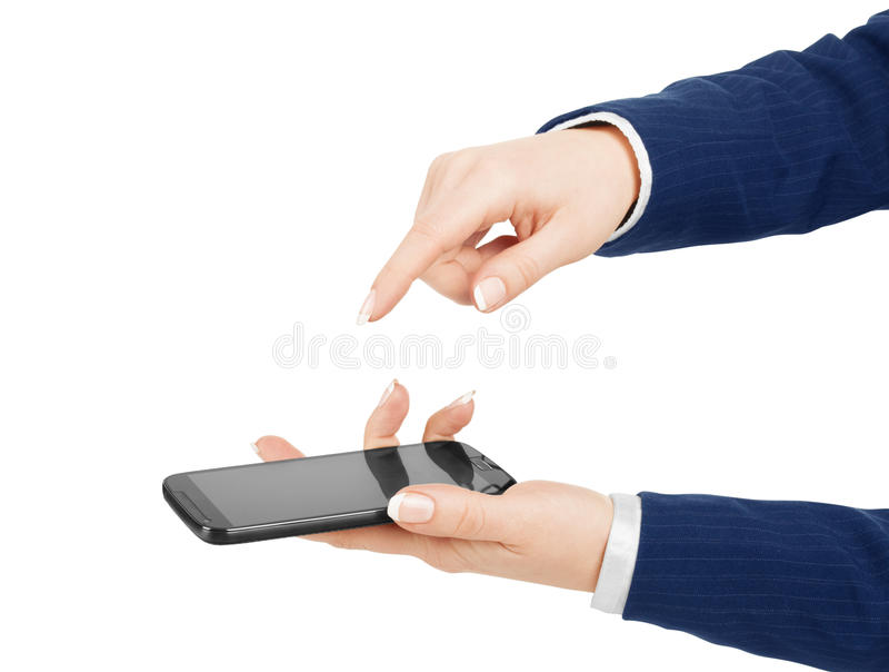 Download Main De Femme Tenant Et Touchant Un écran De Téléphone Portable Avec Son T Image stock - Image du cellulaire, générique: 56479387