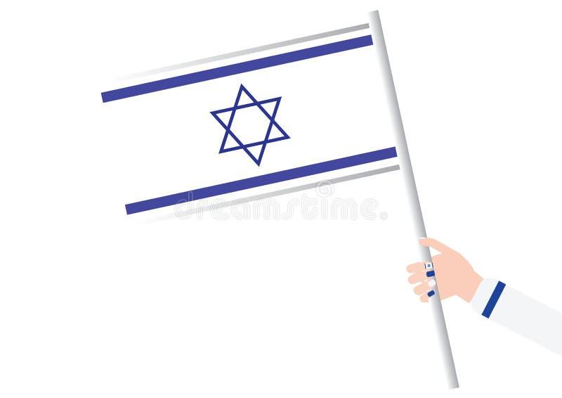 Main de femme tenant un drapeau israélien illustration libre de droits