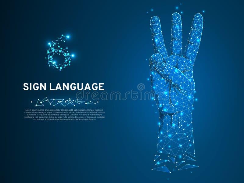 Main de geste du numéro six de langue des signes avec trois doigts se dirigeant vers le haut du bas poly vecteur sourd polygonal  illustration stock