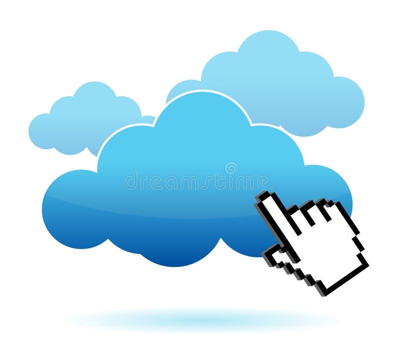 Main de graphisme de curseur cliquetant sur une illustration de nuage illustration libre de droits