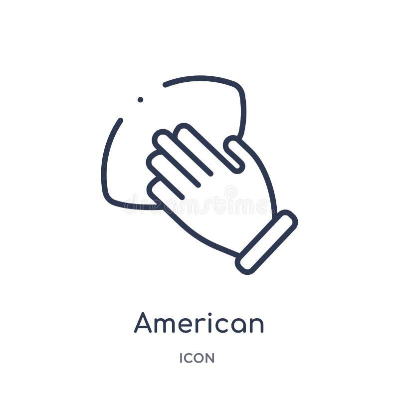 main de joueur de football américain tenant l'icône de boule de la collection d'ensemble de sports Ligne mince main de joueur de  illustration de vecteur