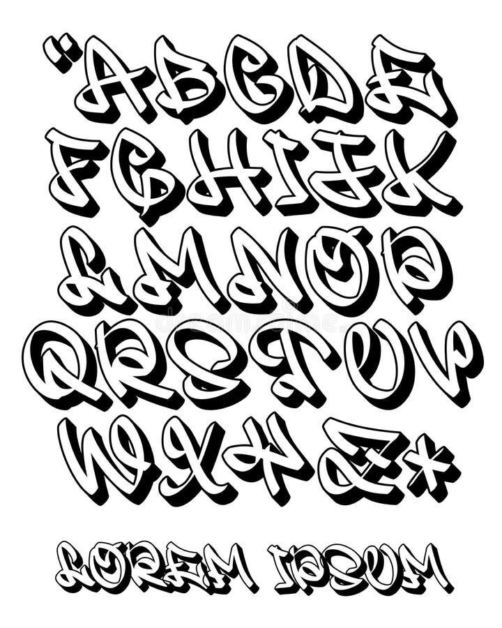 Main de l'alphabet 3D- de graffiti écrite - police de vecteur illustration stock