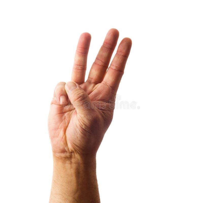 Main de mâle adulte montrant le geste du numéro trois d'isolement sur le blanc photos stock