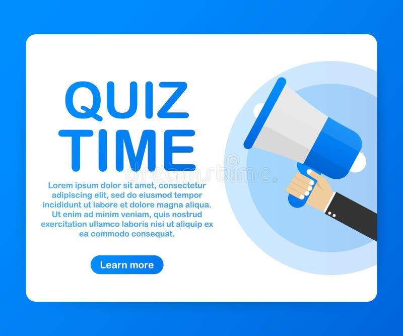 Main de mégaphone, concept d'affaires avec du temps de jeu-concours des textes Illustration de vecteur illustration de vecteur