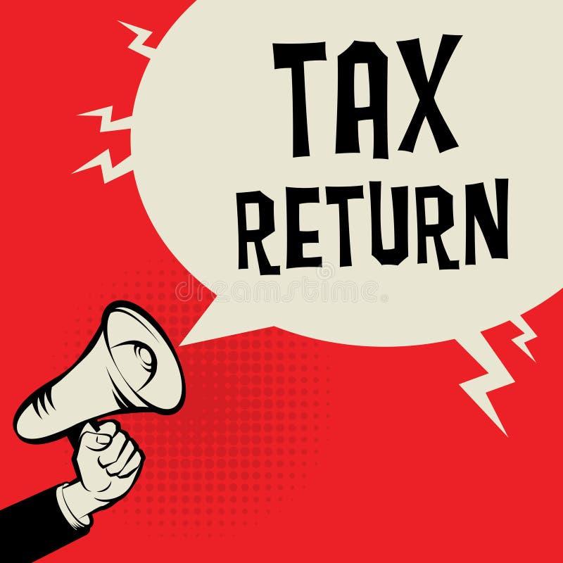 Main de mégaphone, concept d'affaires avec la déclaration d'impôt des textes illustration libre de droits