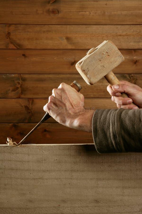 Main de marteau d'outil de charpentier de burin en bois de gouge image stock