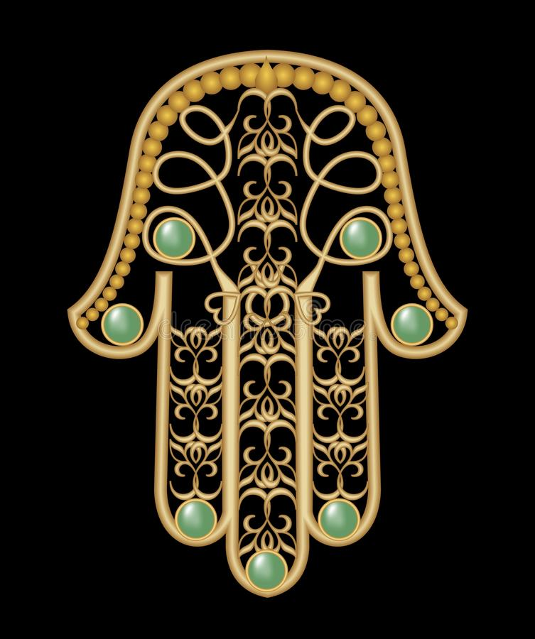 Main de Miriam - amulette de la protection dans la conception en filigrane d'or illustration stock