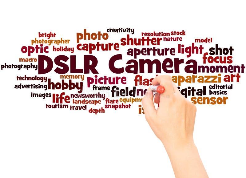 Main de nuage de mot de caméra de DSLR écrivant le concept photos libres de droits