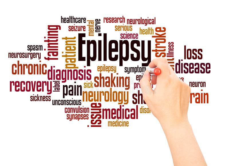 Main de nuage de mot d'épilepsie écrivant le concept illustration stock