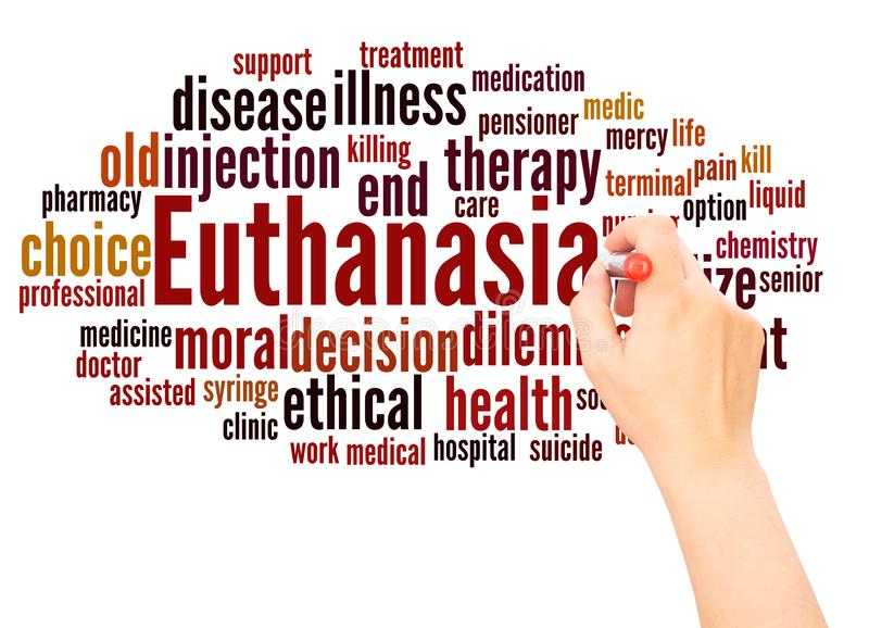 Main de nuage de mot d'euthanasie écrivant le concept photos stock