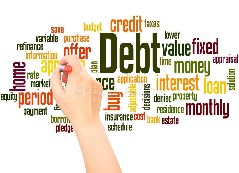 Main de nuage de mot de dette écrivant le concept illustration de vecteur