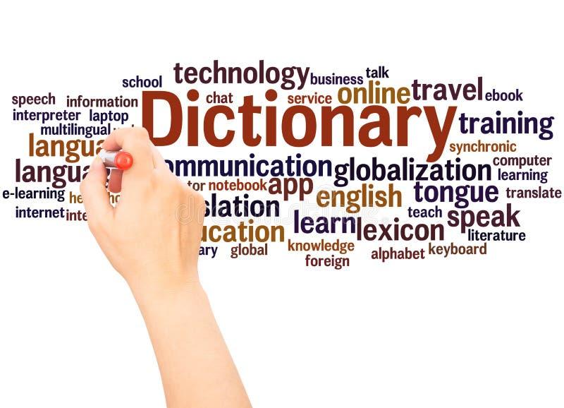 Main de nuage de mot de dictionnaire écrivant le concept photo libre de droits