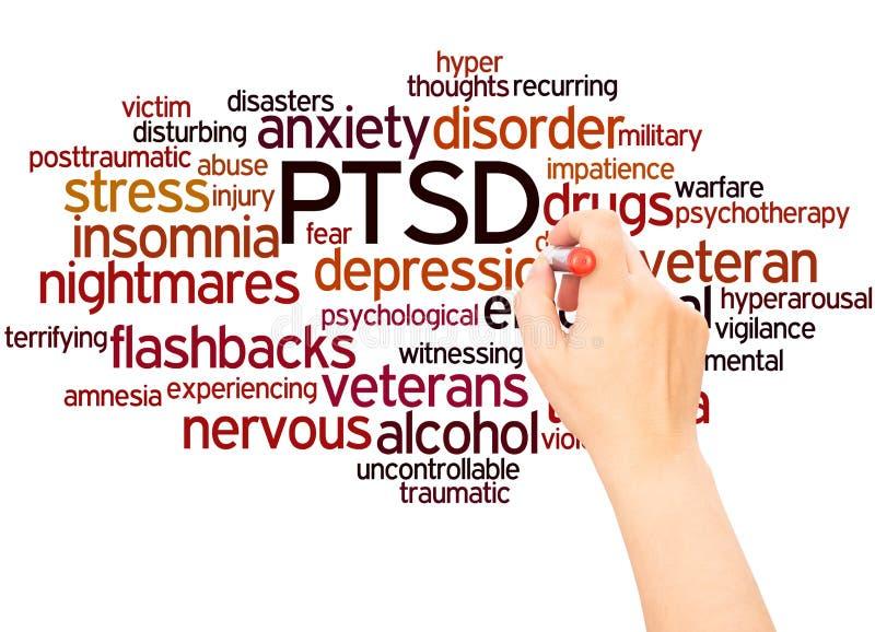 Main de nuage de mot de PTSD écrivant le concept illustration de vecteur