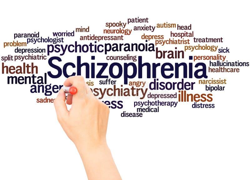 Main de nuage de mot de schizophrénie écrivant le concept illustration stock