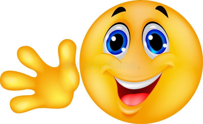 Main de ondulation d'émoticône souriante illustration libre de droits