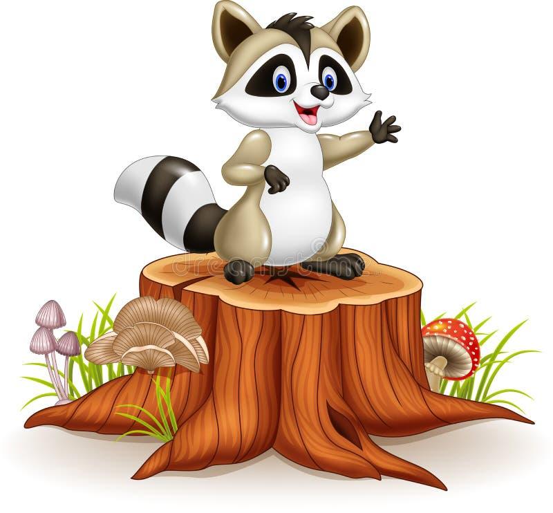 Main de ondulation de bande dessinée drôle de raton laveur de bande dessinée sur le tronçon d'arbre illustration libre de droits
