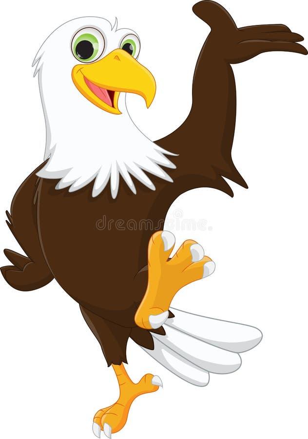 Main de ondulation de bande dessinée mignonne d'aigle illustration de vecteur