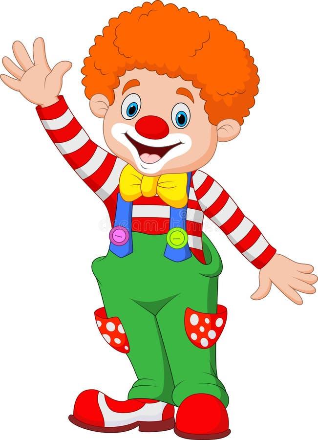 Main de ondulation de clown heureux de bande dessinée illustration de vecteur