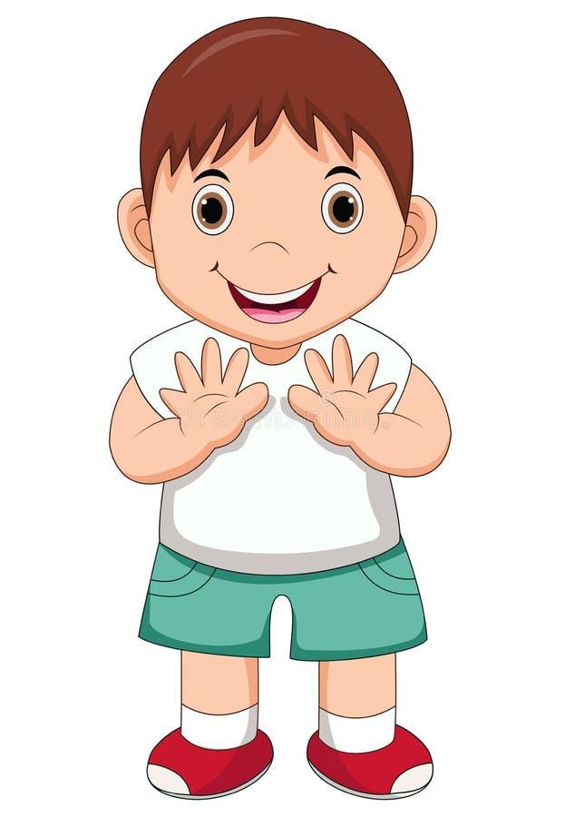 main de ondulation de garçon mignon sur le fond blanc illustration libre de droits