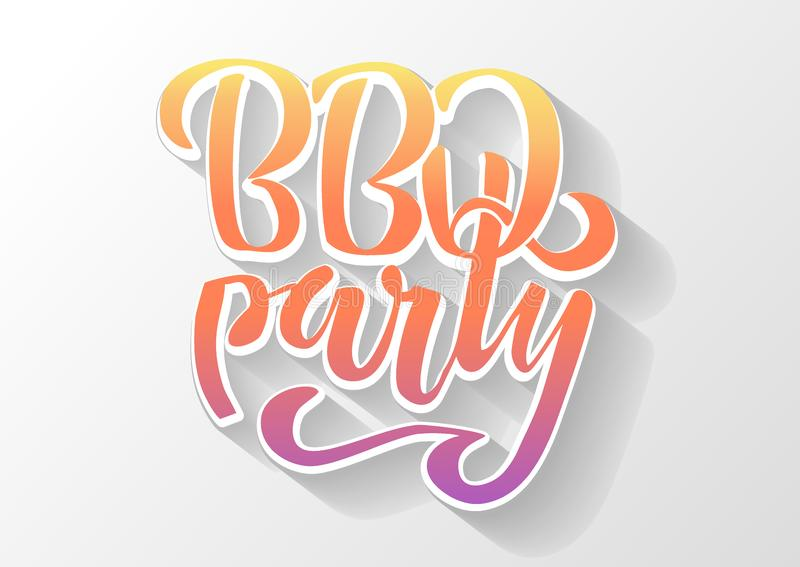 Main de partie de BBQ marquant avec des lettres le calibre de conception de vecteur de logo Label typographique des textes de bar illustration libre de droits