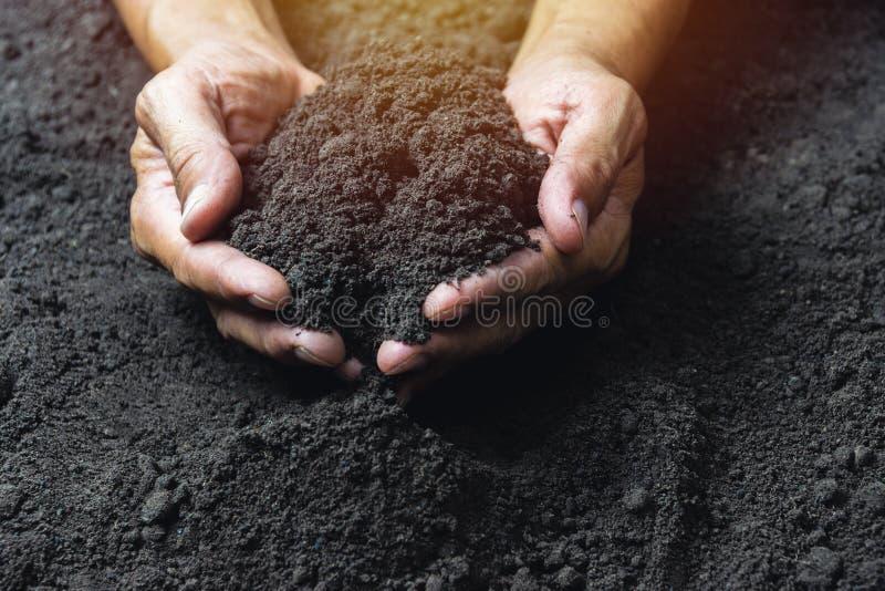 Main de plan rapproch? de personne tenant le sol d'abondance pour l'agriculture ou plantant le concept de p?che photo stock